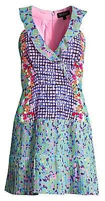 Saloni Women's Amy Mixed-Print Silk Flare Dress