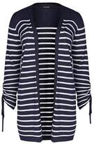 Evans Navy Blue Textured Striped Cardigan