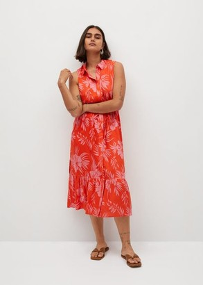 MANGO Violeta BY Tropical print dress coral red - 18 - Plus sizes