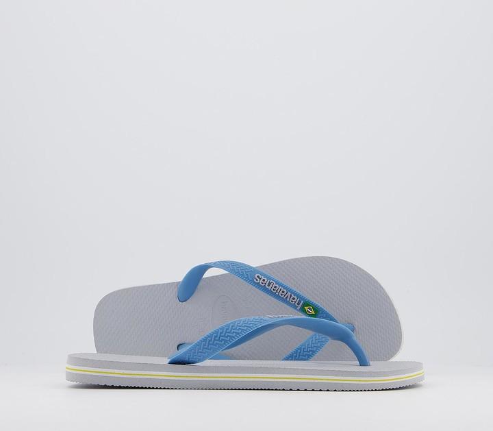 Havaianas Brasil Logo Flip Flops Ice Grey