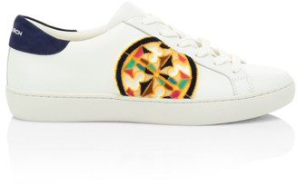 Tory Burch Logo Fil Coupe Leather Sneakers