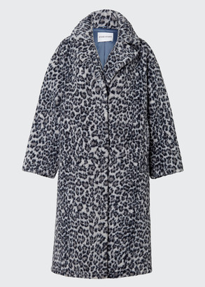 Stand Studio Maria Long Leopard-Print Faux-Fur Coat