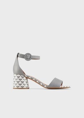 Emporio Armani Leather Sandals With Round Monogram Heels