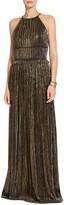 St. John Metallic Plisse Halter Neckline Gown