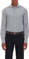 Barneys New York Men's Checked Poplin Shirt-NAVY