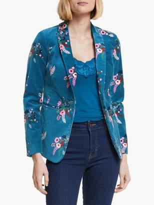 Boden Sackville-West Velvet Floral Blazer, Baltic/Country Posy
