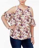 Eyeshadow Trendy Plus Size Cold Shoulder T-Shirt