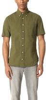 Gitman Brothers Short Sleeve Olive Over Dye Seersucker Shirt
