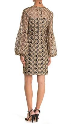 Trina Turk Kai Blouson Sleeve Embroidered Dress