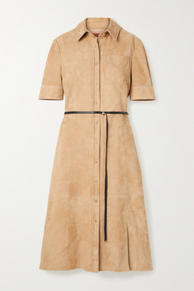 Altuzarra Kieran Belted Suede Dress - Beige