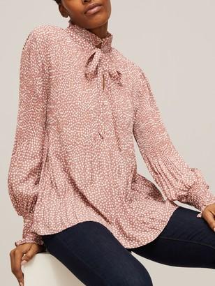 Max Studio Tie Neck Polka Dot Blouse, Pink/Multi