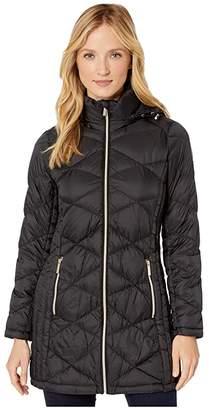 MICHAEL Michael Kors Packable Puffer Jacket with Diamond Quilt M824120TZ (Black) Women's Coat