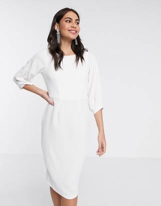 Closet London pencil dress with pleated sleeve in ivory