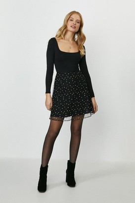 Coast Embroidered Spot A-Line Skirt