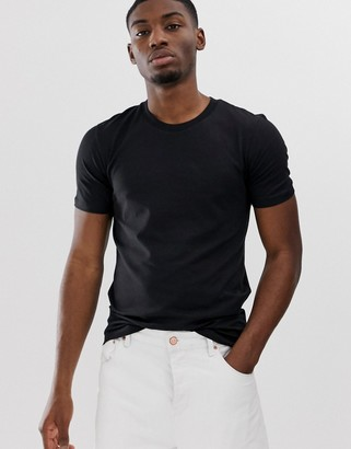 Selected 'The Perfect Tee' pima cotton t-shirt in black