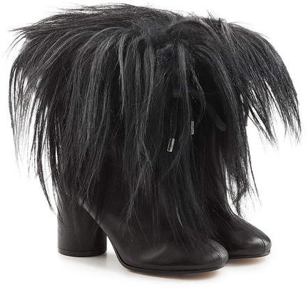 Maison Margiela Leather Ankle Boots with Goat Hair