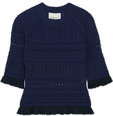 3.1 Phillip Lim Ruffled Pointelle-knit Sweater - Midnight blue