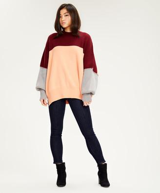 Free People Women's Pullover Sweaters PEACH - Peach Color Block Easy Street Oversize Sweater - Women
