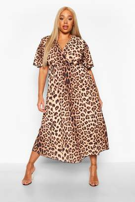 boohoo Plus Leopard Wrap Angel Sleeve Maxi Dress
