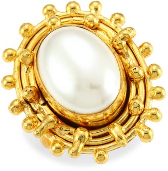 Sylvia Toledano Stone Dots 22K Yellow Goldplated & Oval Cultured Freshwater Pearl Ring