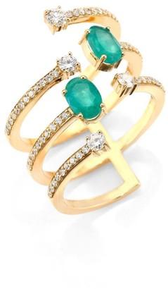 Hueb Rainbow Diamond, Emerald & 18K Yellow Gold Ring