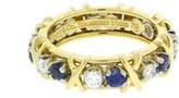 Tiffany & Co. Schlumberger 18k Yellow Gold Platinum Diamond Blue Sapphire Size 7.5 Eternity Ring