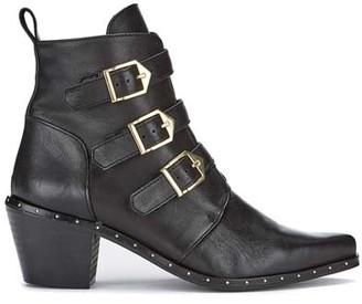 Mint Velvet Eva Black Leather Cowboy Boots