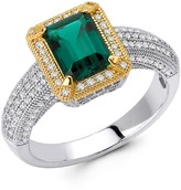 Lafonn Platinum Over Sterling Silver Micro Pave Lab Emerald & Simulated Diamond Center Emerald-Cut Ring