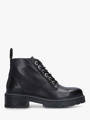 Carvela Trinket Lace Up Leather Ankle Boots, Black