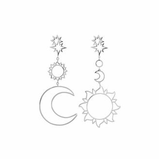 wuayi Star Sun Moon Hollow Vintage Dangle Drop Ear Stud Earrings Jewelry Gift for Women (Silver)