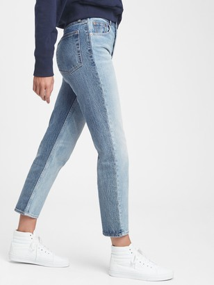 Gap High Rise Two Tone Cheeky Straight Jeans