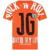 John Galliano John GallianoBoys Orange Rock N Roll Print Top