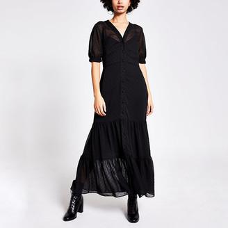 River Island Black textured shirt smock maxi dress
