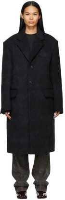 we11done Black Brushed Wool Coat
