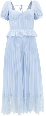 Self-Portrait Lace-trimmed Pleated-chiffon Midi Dress - Womens - Light Blue