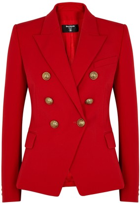 Balmain Red double-breasted wool blazer