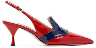 Prada Bi Colour Patent Leather Slingback Pumps - Womens - Red Navy