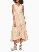 Linen Blend Striped Tie Waist Maxi Dress