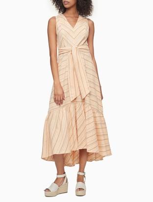 Calvin Klein Linen Blend Striped Tie Waist Maxi Dress