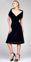 Mac Duggal Off the Shoulder Bertha Collar Velvet Dress