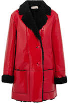 Christopher Kane Shearling-lined Crinkled Patent-leather Coat - Red
