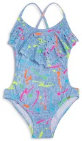 Pilyq Pily Q Girls' Spatter Print Monokini One Piece Swimsuit - Little Kid, Big Kid
