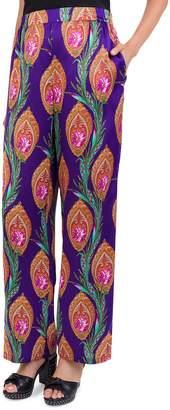 The Kooples Hindu Flowers Silk Wide-Leg Trousers