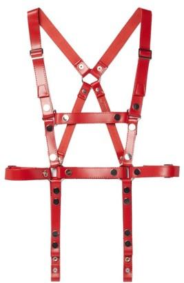 Junya Watanabe Studded Leather Harness Belt - Red