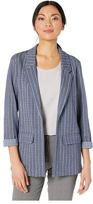 Liverpool Boyfriend Blazer w/ Princess Darts (Blue/White Herringbone Stripe) Women's Clothing