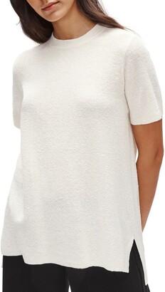 Eileen Fisher Short Sleeve Organic Linen Blend Tunic Sweater