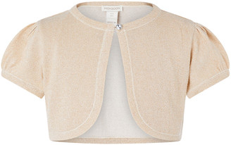 Under Armour Metallic Capped Sleeve Cropped Cardigan Gold