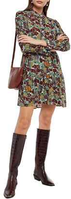 BA&SH Gathered Floral-print Metallic Mousseline Mini Shirt Dress