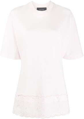 Simone Rocha embroidered scalloped-hem T-shirt