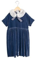 Il Gufo Girls' Velvet Faux Fur-Trimmed Dress